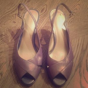 Liz Claiborne gray leather peep toe sling- Sz 8